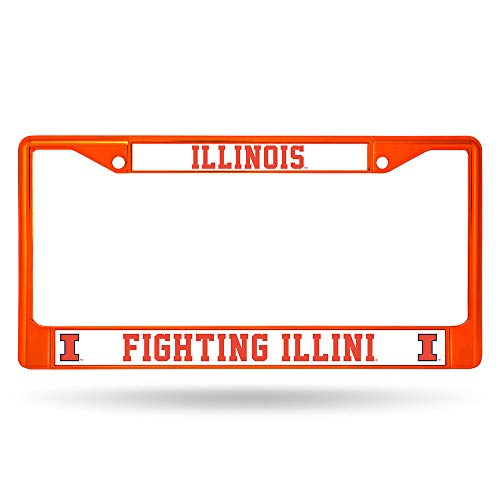 Rico Industries NCAA Illinois Illini Team Colored Chrome License Plate Frame, -