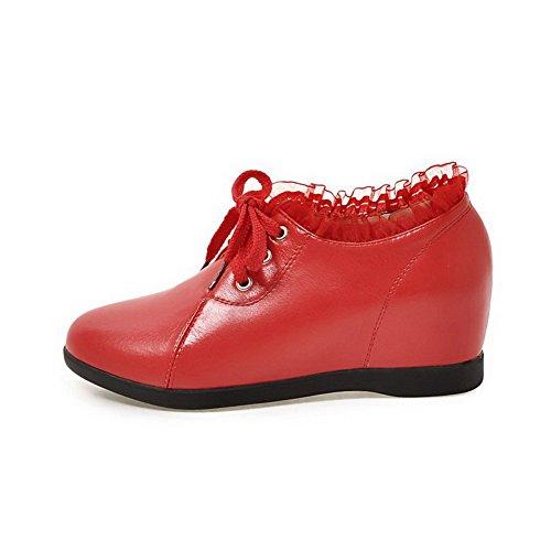 Chaussures Pu Cuir À Légeres Lacet Rouge Femme Couleur Voguezone009 THxRTwBgq