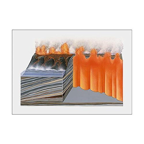 Cross Section Volcano - A1 Poster of Cross section illustration of basaltic volcano (13547843)