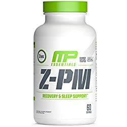 MP Essentials Z-Core PM, Natural Sleep Support Supplement, Nighttime Muscle Recovery and Sleep Aid, Healthy Testosterone Support, Melatonin, Zinc and Magnesium, MusclePharm, 60 Servings