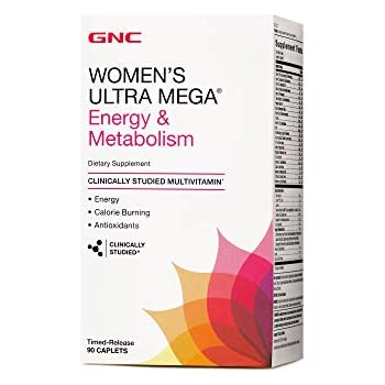 GNC Womens Ultra Mega Energy Daily Multivitamin for Increased Energy, Metabolism Calorie Burning - 90 Caplets