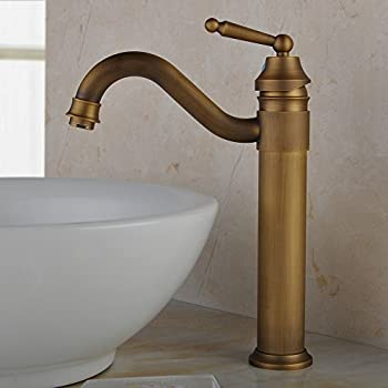 Wovier Antique Brass Waterfall Bathroom Sink Faucet, Single Handle ...