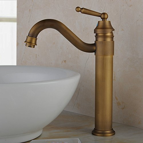 Hiendure Centerset Single Handle Antique Brass Bathroom Vanity Sink - Brushed brass bathroom faucets
