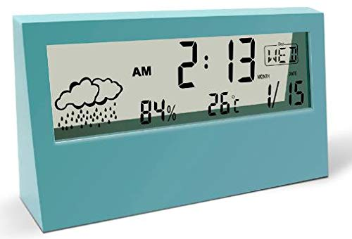 HR Creations Digital Alarm Clock for Bedroom,Office,Travel. Large LCD with Weather Humidity Temperature Calendar Display,Snooze,Multifunction(Teal)