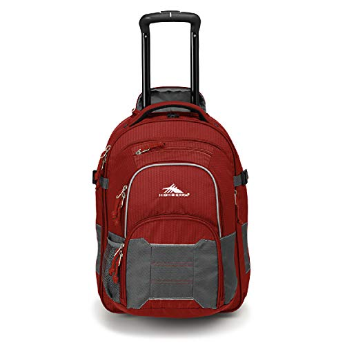 High Sierra Ultimate Access 2.0 Carry On Wheeled Backpack, Brick Red/Mercury/Silver