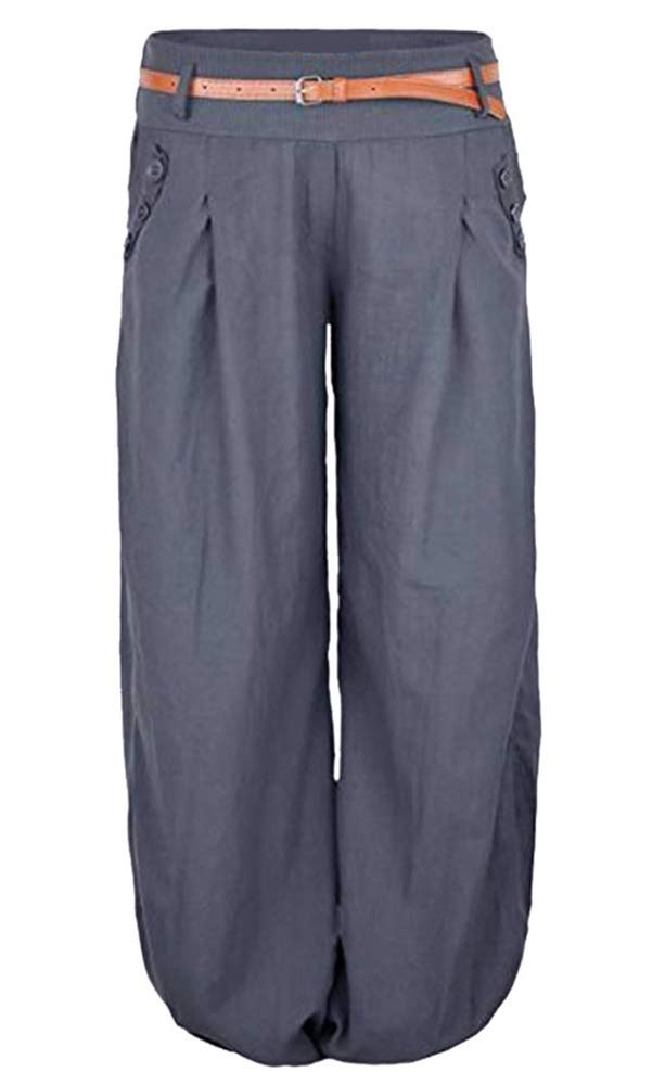 Vertvie Women Palazzo Plain Flared Baggy Trousers Solid Color High Waist Casual Wide Leg Pants(Grey,XL)