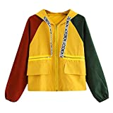 Bafaretk Women Long Sleeve Color Block Patchwork Pocket Skinsuit Zipper Hooded Sport Coat (M, Yellow)