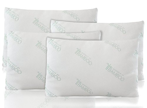 Bamboo Pillow | Premium Hypoallergenic Down Alternative Fiber Pillows With Stay Cool Bamboo Derived Rayon and Poly Luxury Soft Cover | Filled in USA By Home With Comfort (4)