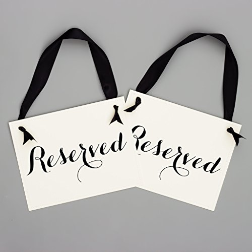 Set of 2 Reserved Signs Wedding Chair Seat Banners Script Black & White for $<!--$29.95-->