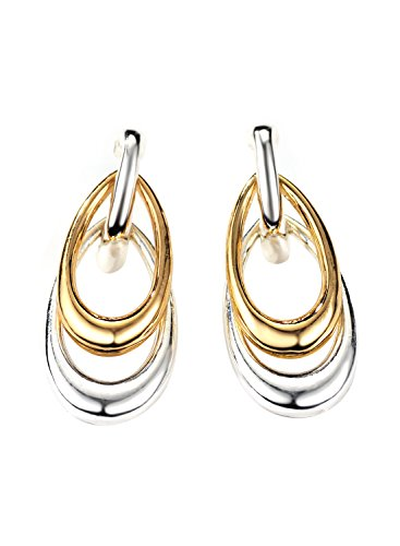 Neoglory Jewelry Gold Plated Silver Color Two Tone Teardrop Drop Dangle Earrings for Sensitive Ears