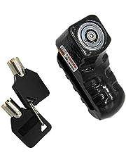 Almencla Stainless Steel Motorcycle Disc Brake Lock, Motorbike Anti-Theft Waterproof Alarm Wheel Lock for Motorcycles Bicycle ATV (Black)