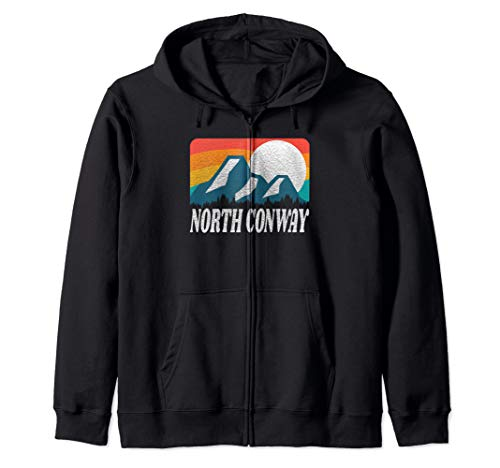North Conway New Hampshire Retro Rainbow Mountain Zip Hoodie