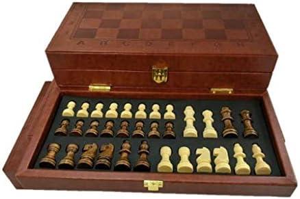 HJSP Juego de ajedrez Ajedrez de Europa y América clásica Caja de Cuero Plegable de ajedrez Juego de Mesa portátil Torneo de ajedrez (Size : 14.5cm): Amazon.es: Hogar