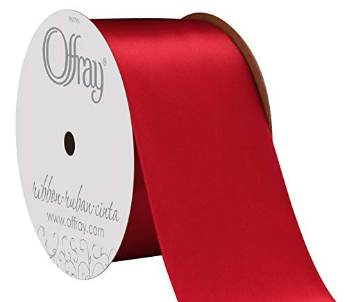 "Offray Berwick 2.25"" Wide Double Face Satin Ribbon, Scarlet Red, 10 Yds"