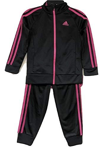 adidas Girls' Tricot Zip Jacket and Pant Set (Black/Pink Strip, 6) ()