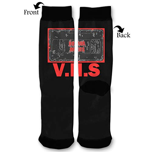 Horror Movies -V.H.S Men & Women Casual Cool Cute Crazy Funny Athletic Sport Colorful Fancy Novelty Graphic Crew Tube Socks