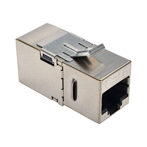 (Tripp Lite Cat6 Straight Through Modular Shielded In Line Snap-In Coupler w/ 90-Degree Down-Angled Port  RJ45 F/F (N235-001-SH-D))