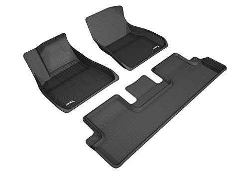 3D MAXpider B07D9GMYG8 Complete Set Custom Fit All-Weather Kagu Series Floor Mats in Black for Select Tesla 3 Models (Lip New Black)