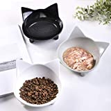 Cat Bowls Cat Food Bowls Non Slip Cat Double Dish Pet Food & Water Bowls Feeder Bowls Pet Bowl Set of 3 for Dogs Cats Small Animals (Safe Food-Grade Melamine Material)