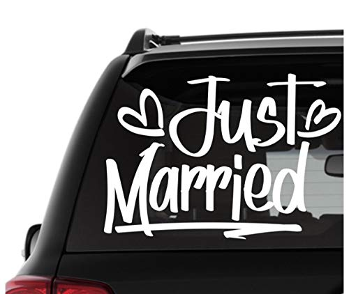 (CELYCASY Just Married Car Sign, Just Married Car Decal, Newlywed Sign, Just Married Banner, Wedding Decals, Customized Decals, Personalized Car Decal)