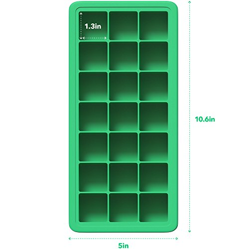 Vremi Silicone Ice Cube Trays with Plastic Lids - BPA Free Ice Tray Set of 2 with 42 Small Square Cubes - Covered Easy Pop Push Release Rubber Mold for Cocktails Dog Treats Water Bottles - Blue Green