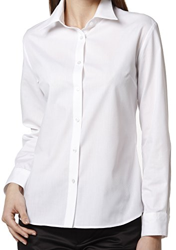 - Leonis Women's Easy Care Dobby Long Sleeve Shirt White Twill (M [6]) [ 34644 ]