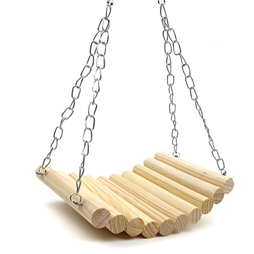 Alfie Pet by Petoga Couture - Chris Wooden Swing with Adjustable Hanging Chain for Mouse, Chinchilla, Rat, Gerbil and Dwarf Hamster - Size: Large
