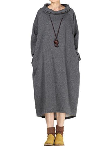 (Mordenmiss Women's New Solid Cowl Neck Long Sweatshirt Style 2 Grey)