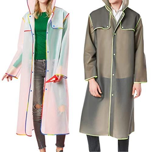 Huixin De Lluvia Blanco Con Capucha Outdoor Unisex Impermeable Chaqueta Sólido Color Para Mujer Transparente xxUwqrBH