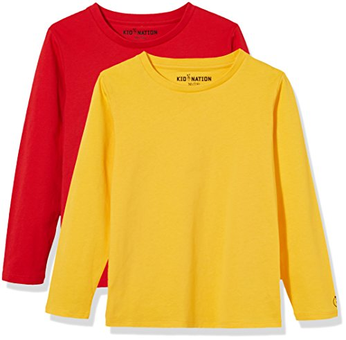 Kid Nation Kids' 2-Pack Long-Sleeve Crew-Neck T-Shirt for Boys or Girls XL Red+Yellow