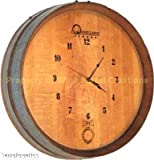 Wine Barrel Creations 1/4 Wine Barrel Head Wall Clock, Solid Oak Made