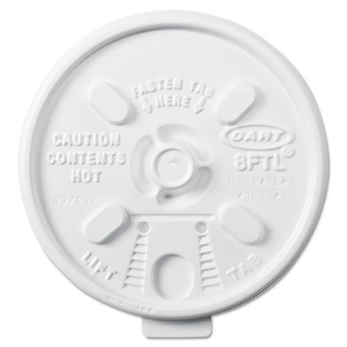Dart Lift n' Lock Plastic Hot Cup Lids, Fits 6-10oz Cups, White - 1,000 lids.