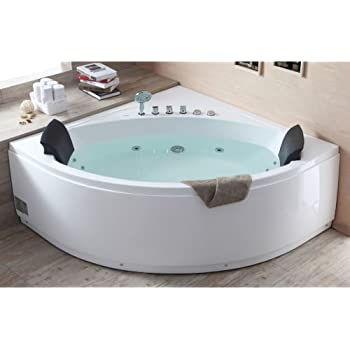 EAGO AM200 5 Feet Rounded Modern Double Seat Corner Whirlpool Bath Tub With  Fixtures