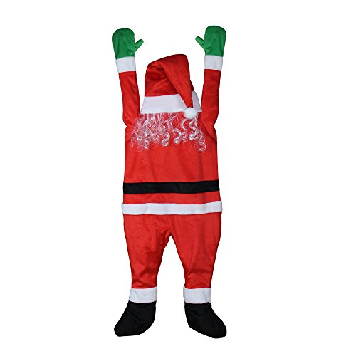 YEAHBEER Christmas Outdoor Decoration,Plush Santa Hanging from Gutter or on The Eaves/Chimney/Tree 4'6