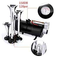 Hosmat 150DB Compressor 4 Trumpet Train Air Horn Kit with 120 PSI Air Compressor for Almost Any Vehicle Trucks Car SUV (Black)