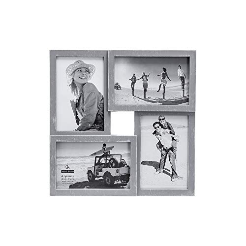 Malden International Designs Puzzle Wall Collages Berkshire Graywash Dimensional Wall Collage Picture Frame, 4 Option, 4-4x6, Gray -