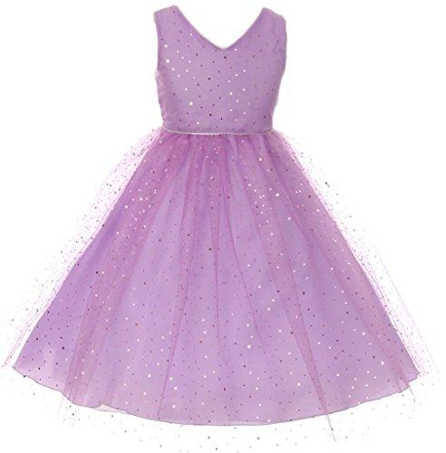 Big Girl V-Neck Mesh Glitter Flower Girl Dress Lavender 8 CB 1705 (Glitter Mesh Dress)