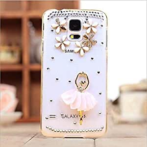 QYF Samsung S5 I9600 compatible Special Design/Diamond Look Plastic Back Cover/Jewel Covered Cases , Pink