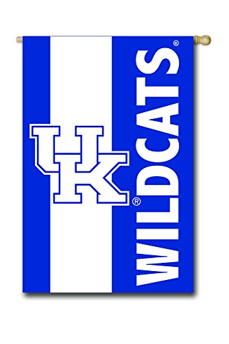 University of Kentucky Outdoor Safe Double-Sided Embroidered Logo Applique House Flag, 29 x 44 inches (Kentucky University Embroidery)