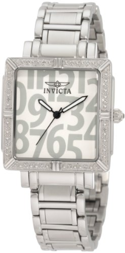 Invicta Women's 10670 White Wildflower Collection Diamond Accented Square - Bracelet Resistant Cabochon Water