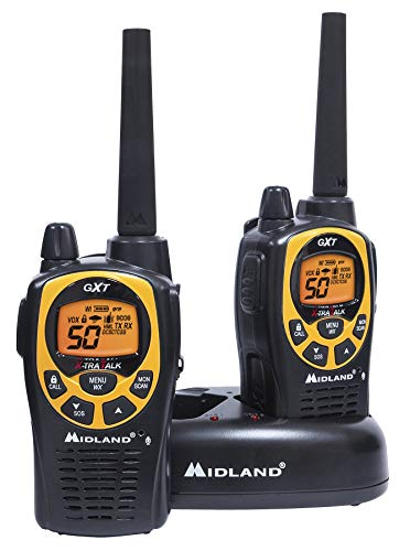 Midland - GXT1030VP4, 50 Channel GMRS Two-Way Radio - Up to 36 Mile Range Walkie Talkie, 142 Privacy Codes, Waterproof, NOAA Weather Scan + Alert (Pair Pack) (Black/Yellow) - Electronics Corporation Cobra Adapter