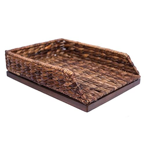 Nice BirdRock Home Seagrass Paper Tray | Hand Woven | Desk Organizer | Paper Holder | Dark Natural | Stylish Decorative Design | Filer supplier 8O6DMS28