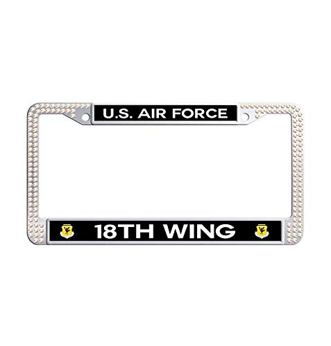 Nuoousol U.S. Air Force 121st Air Refueling Wing Shining Crystal Car tag Frame, Colorful Stainless Steel Rhinestones Car Tag Holder with 2 Holes Screws Caps Set ()
