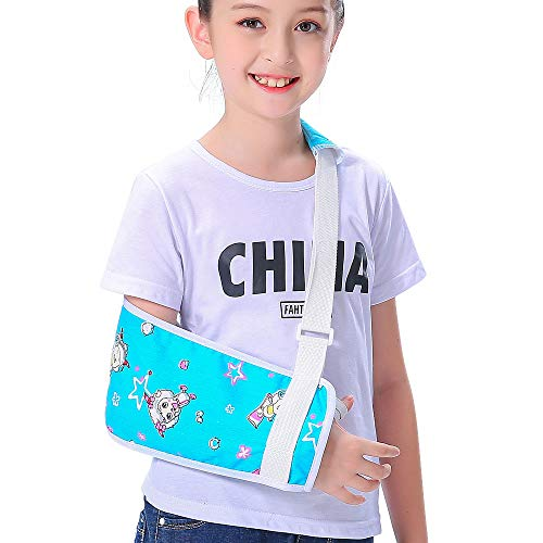 Kids Arm Sling for Boys Girls Blue Little Pleasant Goat Shoulder Sling Pretty Fashion Cute Colorful Pattern Children Child Padiatric Toddler Arm Sling Left Right Arm Support Rotator Cuff Brace (L) ()