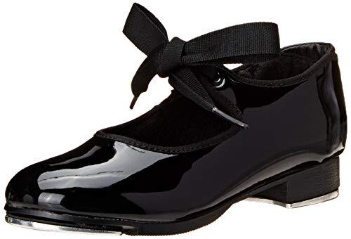 Capezio Girls' Jr. Tyette Tap Shoe Dance, Black Patenlite, 13 Wide US Little Kid