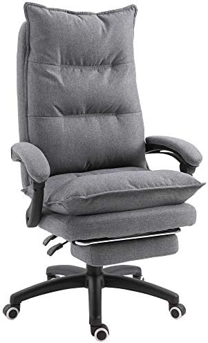 Vinsetto 360 Swivel Home Office Chair Adjustable Height Linen Style Fabric Recliner