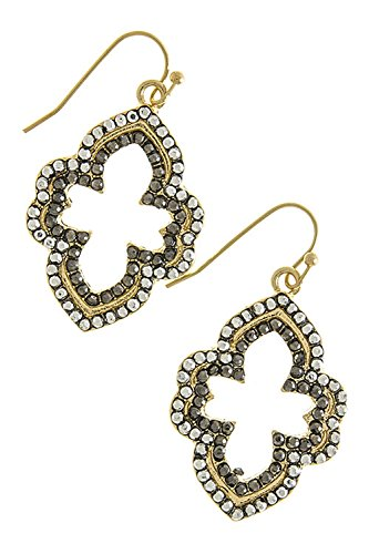 THE JEWEL RACK BEAD LINED MOROCCAN SHAPE EARRINGS (Black/Silver) Moroccan Jewel