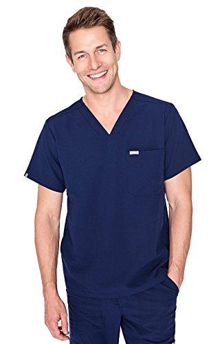 FIGS Medical Scrubs Men's Chisec Three Pocket Top (Navy Blue, M) ()
