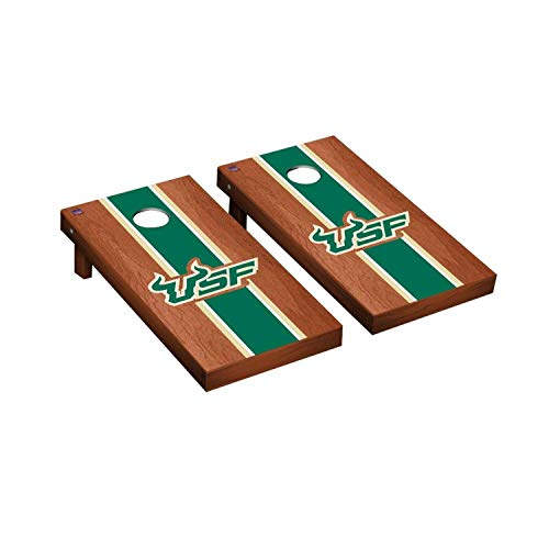 Victory Tailgate Regulation Collegiate NCAA Rosewood Stained Stripe Series Cornhole Board Set - 2 Boards, 8 Bags - South Florida USF Bulls