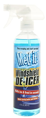 Melt it! Windshield De-Icer. Instantly melts ice and frost in seconds for windshields, windows, mirrors, key locks, latches and more. No scraping or chipping. 17fl - Lock Windshield